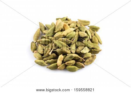 Cardamom Pods Isolated On White