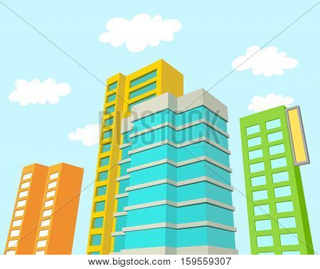 Buildings with Blue Sky and Clouds. Best for Architecture, Urbanity, Business, and Real Estate Concept.