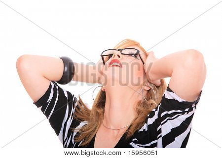 business woman wearing glasses looking up holdind her head isolated over white background