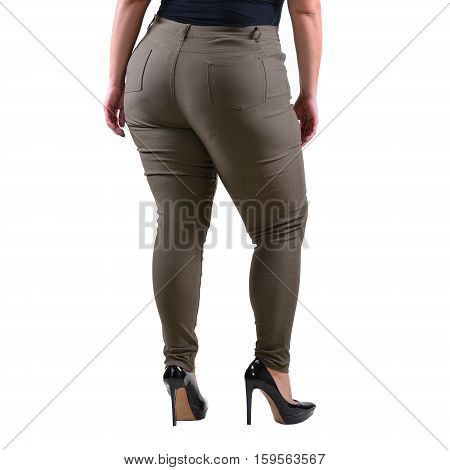 Plus size model wear XXL grey female classic pants with black high heels isolated on white background