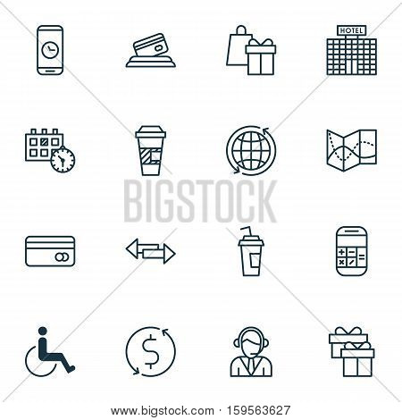 Set Of Travel Icons On Credit Card, Drink Cup And Calculation Topics. Editable Vector Illustration. Includes Time, Office, Paralyzed And More Vector Icons.