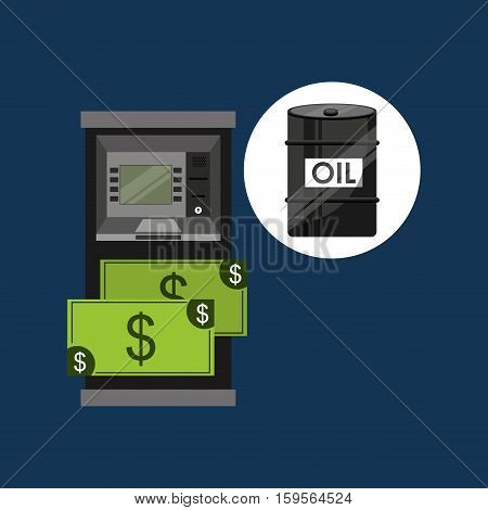 oil and petroleum industry cash machine dollar vector illustration eps 10