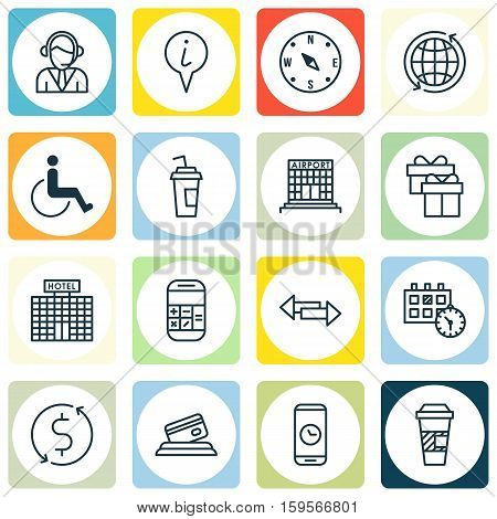 Set Of Transportation Icons On Appointment, Drink Cup And Locate Topics. Editable Vector Illustration. Includes Drink, Paralyzed, Accessibility And More Vector Icons.