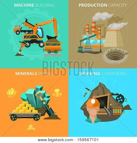 Minerals mining corporation profit potential and working conditions 4 flat icons square composition abstract isolated vector illustration