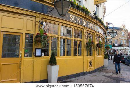 London England-November 13 2016 : The pub Sun in splendour located in Notting hill district on Portobello Road London UK.