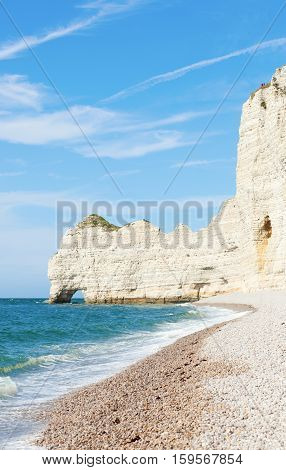 Beach With Famous Cliffs In Etretat, Haute-normandy, France
