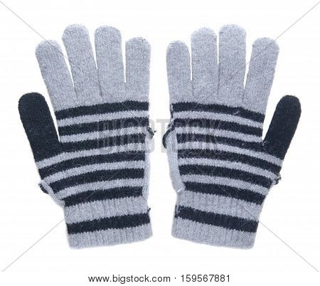 Knitted Gloves. Gloves Isolated On White Background. Gloves A Top View.grey Mittens With Blue Stripe