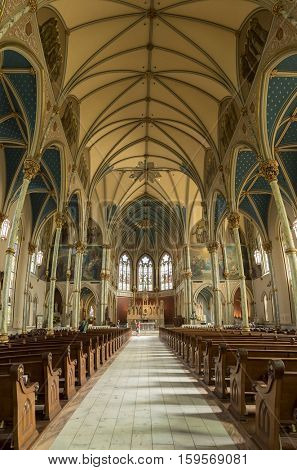 SAVANNAH, GEORGIA - November 30, 2016 : Interior of St John the Baptist cathedral on September 5, 2016. The Cathedral was founded around 1791 by the first French colonists.