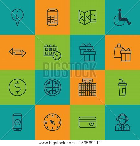 Set Of Traveling Icons On Shopping, Crossroad And Appointment Topics. Editable Vector Illustration. Includes Call, Box, Direction And More Vector Icons.
