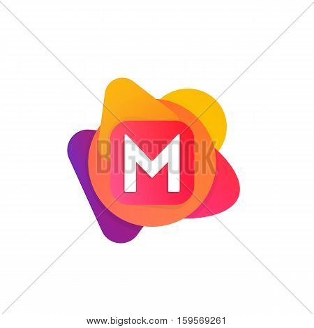 Abstract Fun Shape Elements Company Logo Sign Icon. M Letter Logotype Vector Design