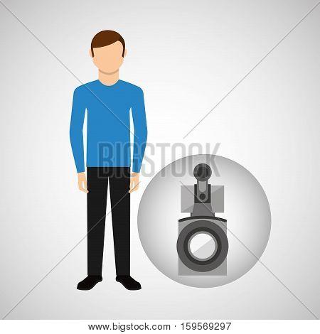character man movie concept camera film vector illustration eps 10