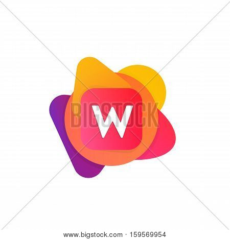 Abstract Fun Shape Elements Company Logo Sign Icon. W Letter Logotype Vector Design