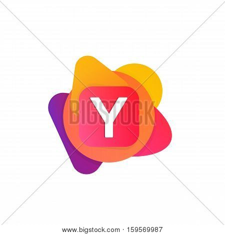Abstract Fun Shape Elements Company Logo Sign Icon. Y Letter Logotype Vector Design
