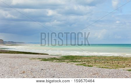 Beautiful Landscape Of A Beach In Normandy, France, Just Before The Rain
