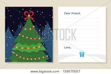 Template greeting card New year's or Merry Christmas letter to Dear Friend . Cute pine tree with gift. Vector illustration. Modern flat design.