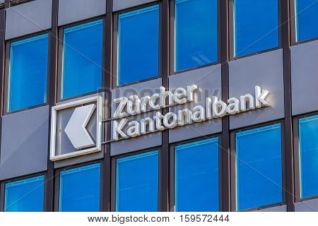 Zurich, Switzerland - 4 April, 2016: windows of the Zurich Cantonal Bank office building on Geroldstrasse street. Zurich Cantonal Bank is the largest cantonal bank and fourth largest bank in Switzerland.