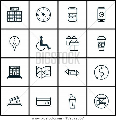 Set Of Traveling Icons On Crossroad, Hotel Construction And Info Pointer Topics. Editable Vector Illustration. Includes No, Phone, Map And More Vector Icons.