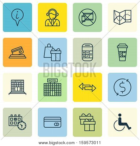 Set Of Airport Icons On Takeaway Coffee, Plastic Card And Calculation Topics. Editable Vector Illustration. Includes Appointment, Dollar, Takeaway And More Vector Icons.