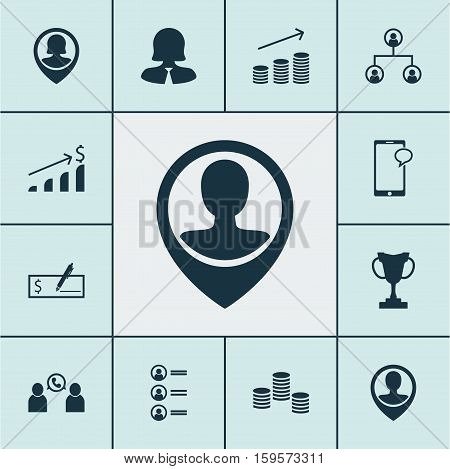 Set Of Human Resources Icons On Phone Conference, Pin Employee And Business Woman Topics. Editable Vector Illustration. Includes Organisation, Call, Conference And More Vector Icons.