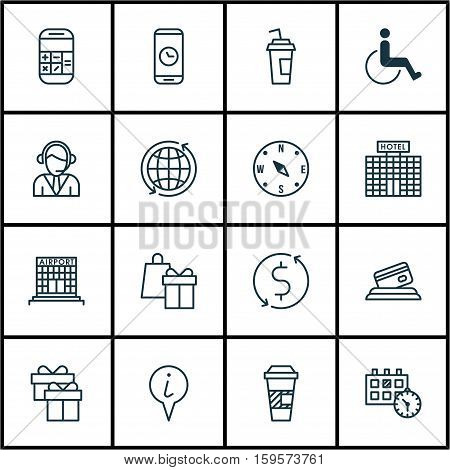 Set Of Transportation Icons On Drink Cup, Airport Construction And Operator Topics. Editable Vector Illustration. Includes Mobile, Map, Operator And More Vector Icons.