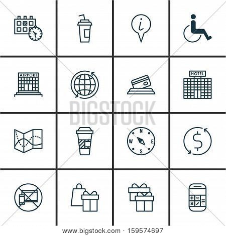 Set Of Traveling Icons On Airport Construction, Takeaway Coffee And Hotel Construction Topics. Editable Vector Illustration. Includes Office, Appointment, Transfer And More Vector Icons.