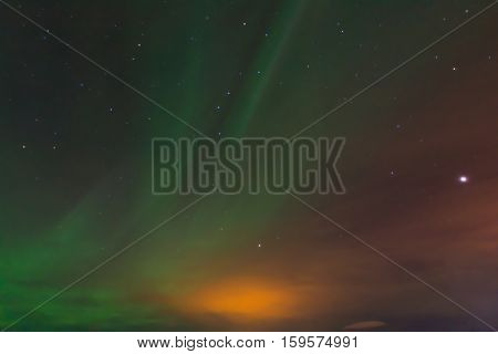 Northern light or Aurora Borealis in Iceland