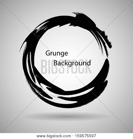 Hand drawn circle shape. label logo design element. Brush abstract wave. Black enso zen symbol. Vector illustration.