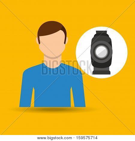 character man movie concept equipment film vector illustration eps 10