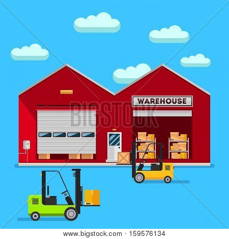 Warehouse infographic elements vector flat design. People in stock items are sorted and sent them to the consumer service delivery