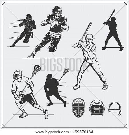 llustration of sports players. Football, baseball and lacrosse.