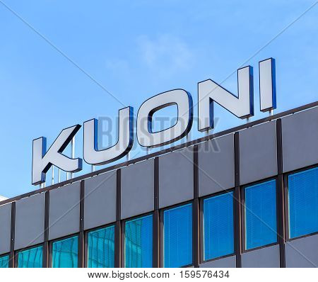 Zurich, Switzerland - 4 April, 2016: Kuoni sign on the top of an office building on Geroldstrasse street. Kuoni Travel is a tourism company founded in Zurich in 1906 by Alfred Kuoni.