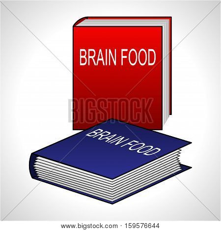 Illustration of book for education as a brain food.
