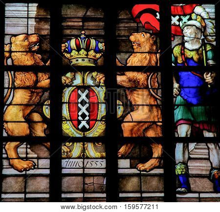 Coat Of Arms Of Amsterdam - Stained Glass