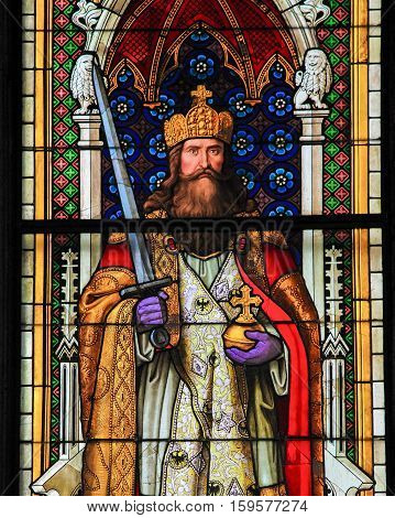 Charlemagne - Stained Glass In Cologne Cathedral