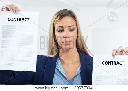 Woman About To Choose A Contract