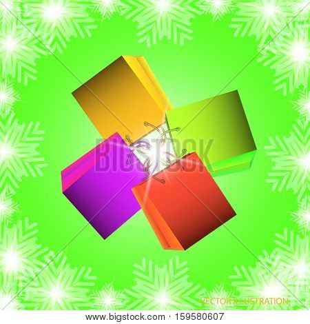 Background with kit shopping bags in different colors with green background and snowflakes. Illustration in red green blue and lilac colors with shadows. Vector illustration.