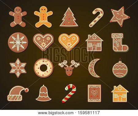 Christmas Gingerbread shortbread Cookies set on dark background