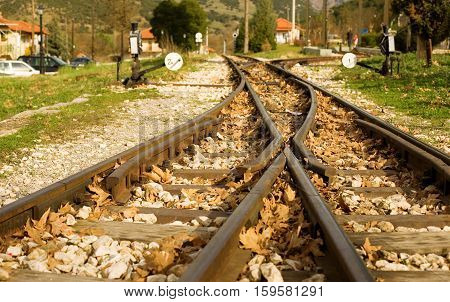 Rails Of Famous Diakofto-kalavrita Railway, A Historic 750 Mm Gauge Rack Railway. Photo Taken Near T