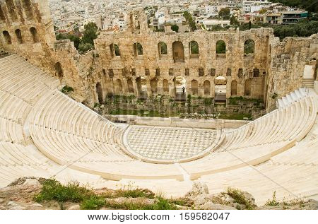 View Of Herodes Atticus Theatre From Akropolis Hill In Athens, Greece