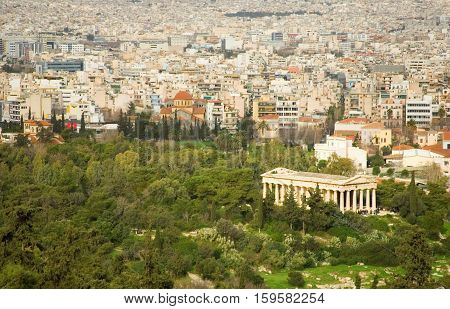 View Of Ancient Agora From The Akropolis Hill In Athens, Greece
