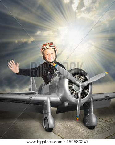 Happy little pilot in retro aircraft. Children playing and enjoying free time in holidays. Digital artwork on leisure theme.