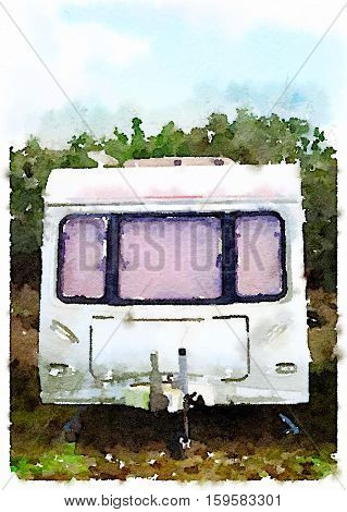 Digital watercolor painting of a rundown dirty old caravan on a sunny day with clouds in the sky. Space for text.