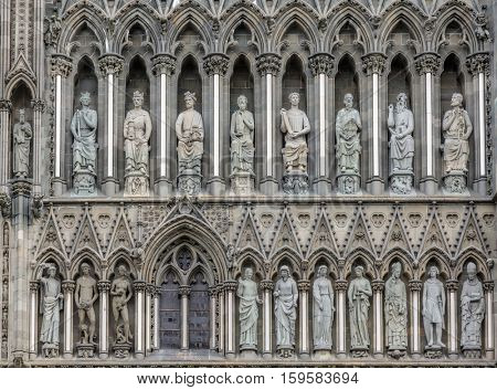 Gothic West Front of Nidaros Cathedral in Trondheim Norway