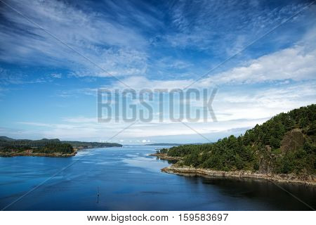 Summer landscape with Norwegian fjord aerial view