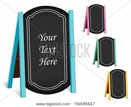 Business Signs, chalk board folding sidewalk easels with brass chains, pastel frames, blackboard background with copy space.