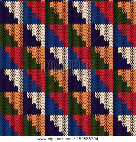 Seamless Knitted Motley Geometric Pattern