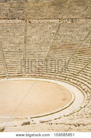 Ancient Theater In Epidaurus, Greece. The Theater Is The Largest Surviving Theater In Greece And Mar