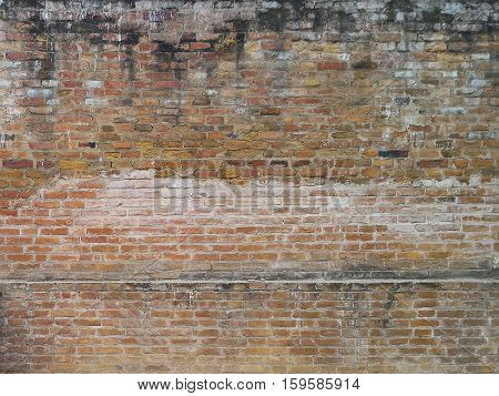 The wall from Nepal Castle . part of wall You can see it at everywhere in Kathmundu the capital city of Nepal the old wall can be background or old pattern .it's very interesting.