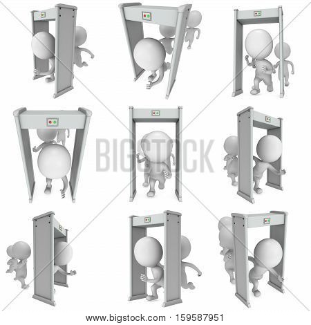 3D render metal detector scanner and running man isolated on white background. Scanner entrance gate for prevent crime or terrorism in public place. Security concept set.