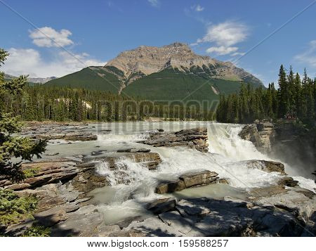 Athabasca Falls in Jasper National Park. Alberta, Canada